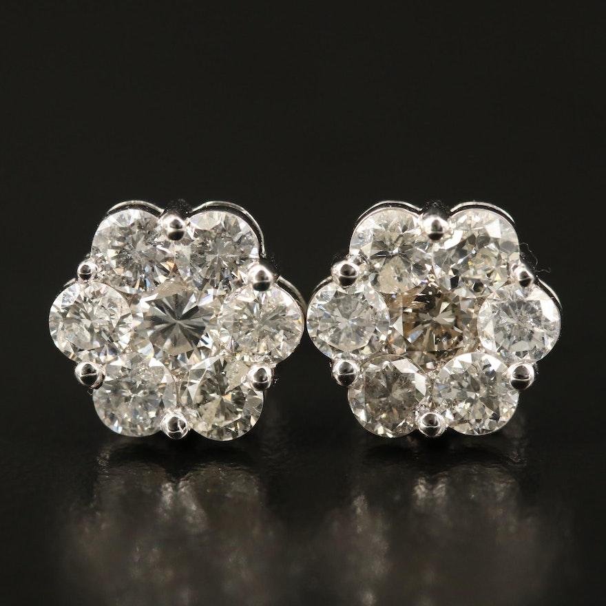 10K 3.04 CTW Diamond Cluster Earrings