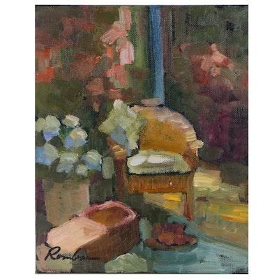 Sally Rosenbaum Interior Scene Oil Painting, 21st Century