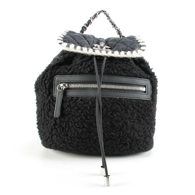 Chanel Small Coco Neige Backpack Purse in Shearling and Quilted Nylon