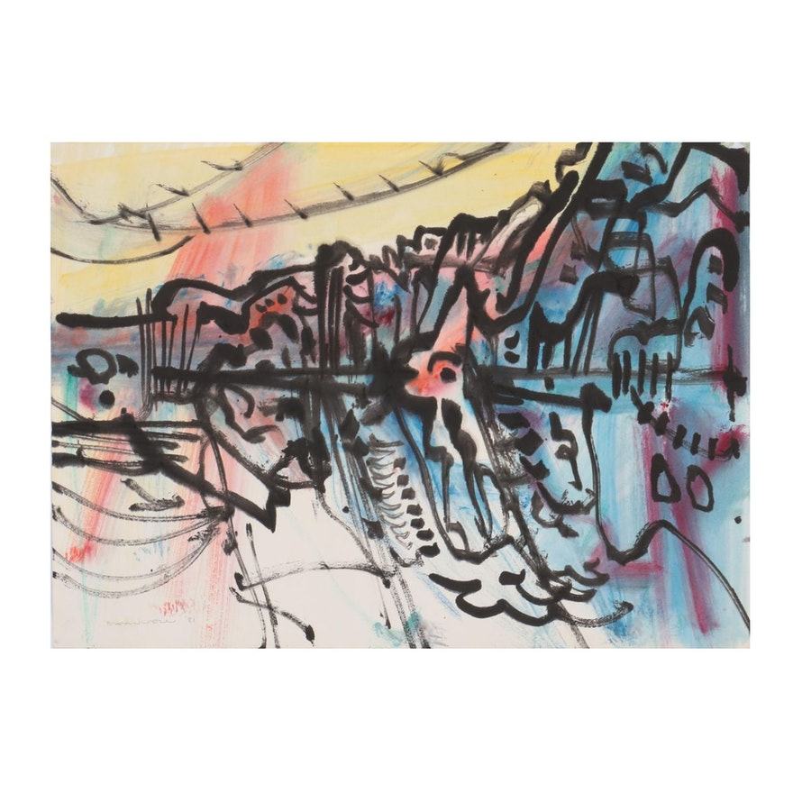 Jack Meanwell Abstract Watercolor Painting, 1981