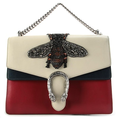 Gucci Dionysus Bag in Red, Ecru, and Navy Leather with Embellished Bee Appliqué