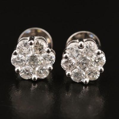 10K 1.40 CTW Diamond Cluster Earrings