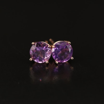 14K Rose Gold Amethyst Stud Earrings