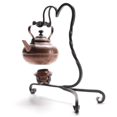 Copper Kettle and Warmer on Wrought Iron Stand, Mid-20th Century