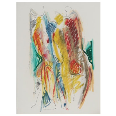 Jack Meanwell Abstract Pastel Drawing, 1984