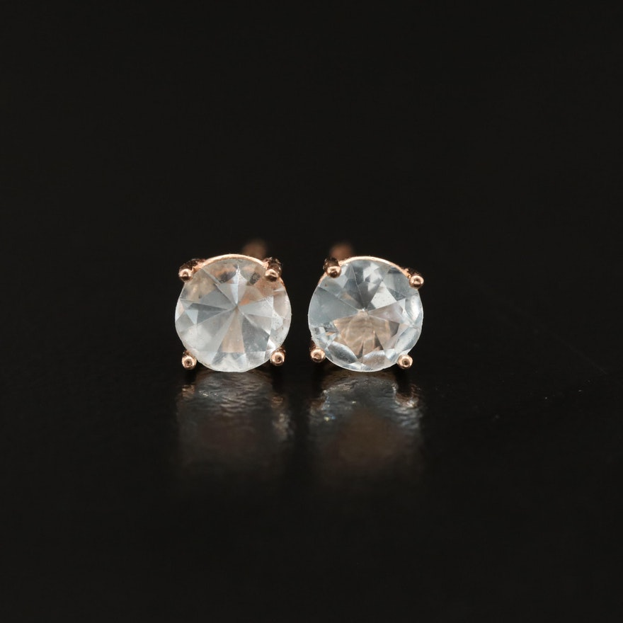 14K Rose Gold Aquamarine Stud Earrings