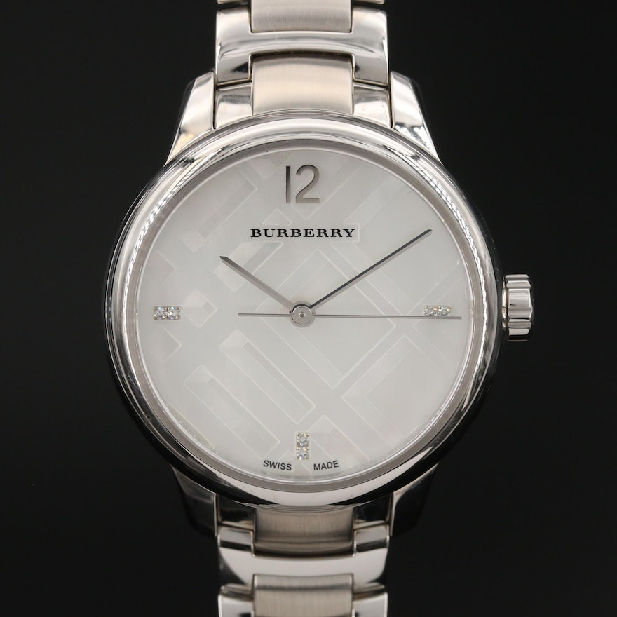 Burberry Mother of Pearl Diamond Dial Stainless Steel Quartz Wristwatch