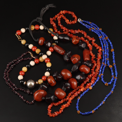Beaded Garnet, Agate, Resin and Lapis Lazuli Necklace Selection