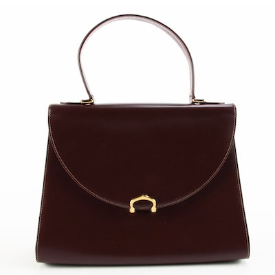 Cartier Must De Cartier Burgundy Leather Top Handle Bag