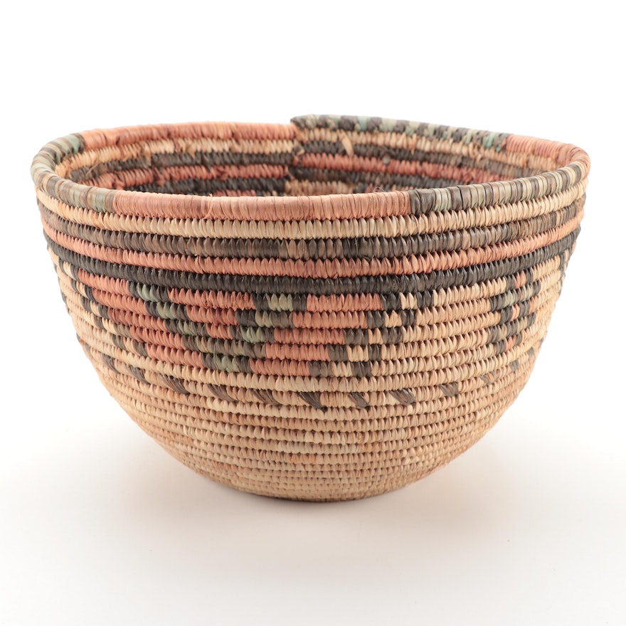 Hausa Handcrafted Coiled Grass Basket, Nigeria