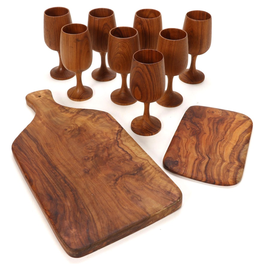 Bernard Olivewood Cheese Board with Cutting Board and Wine Glasses