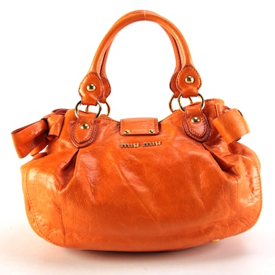 Miu Miu Orange Coffer Bag with Detachable Shoulder Strap
