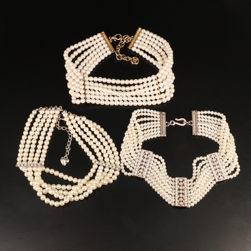Multi-Strand Faux Pearl and Rhinestone Collar Necklaces Featuring Givenchy