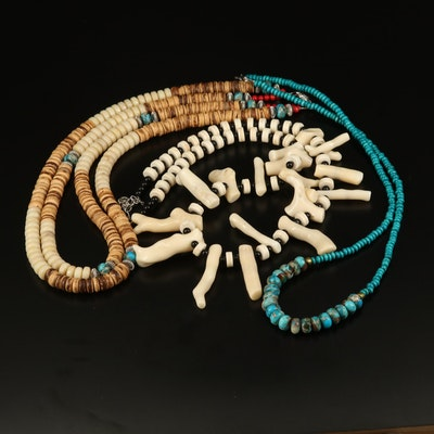 Assorted Coral, Faux Turquoise and Glass Necklaces