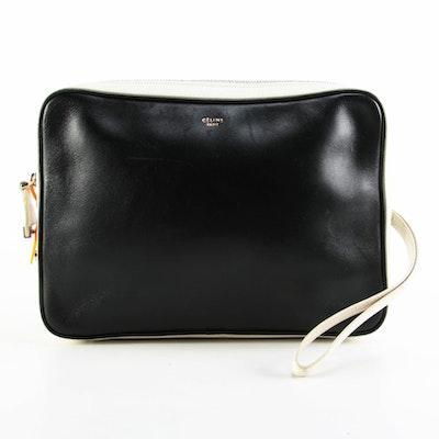 Céline Bicolor Leather Wristlet Clutch