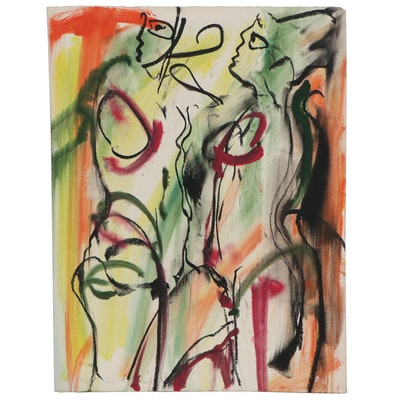 Jack Meanwell Abstract Pastel Drawing of Figure Study, 1983