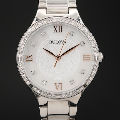 Bulova Stainless Steel Quartz Wristwatch with MOP Dial and Crystal Accents