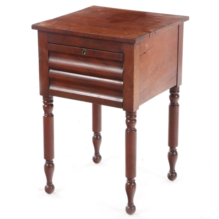 American Empire Mahogany and Cherrywood Two-Drawer Side Table, Mid-19th Century