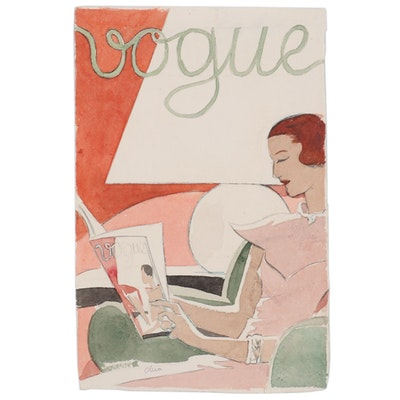 "Eduardo Oliva Watercolor Fashion Illustration ""Vogue,"" Late 20th Century"