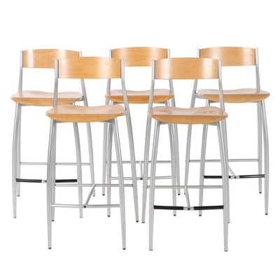 Set of Five Contemporary Wood and Aluminum Framed Counter Stools