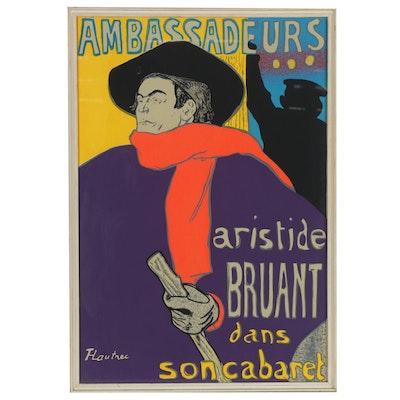 "Serigraph after Henri de Toulouse-Lautrec ""Ambassadeurs: Aristide Bruant"""