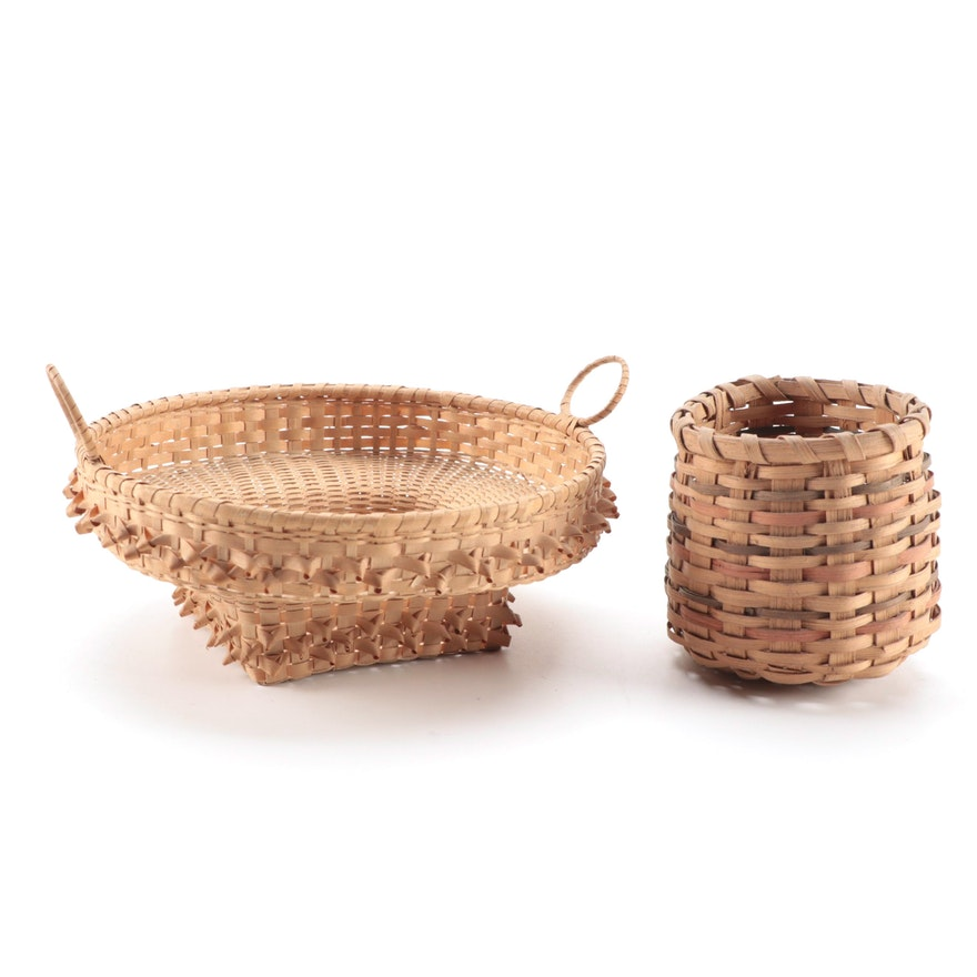 Penobscot Style Open Sewing Basket and Other Basket