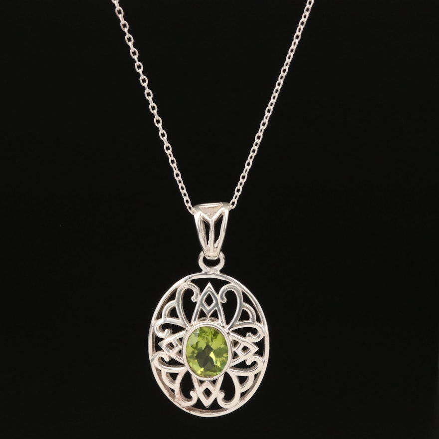 Sterling Silver Peridot Openwork Pendant Necklace