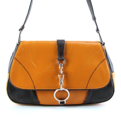Prada Yellow and Dark Brown Leather Front Flap Shoulder Bag