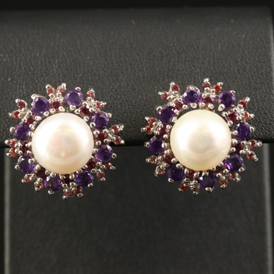 Sterling Pearl, Amethyst and Garnet Button Earrings