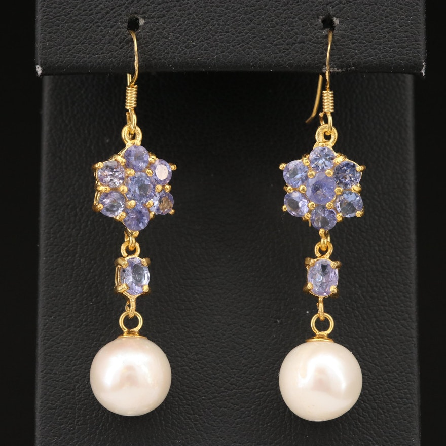 Sterling Silver Tanzanite Earrings with Pearl Drops