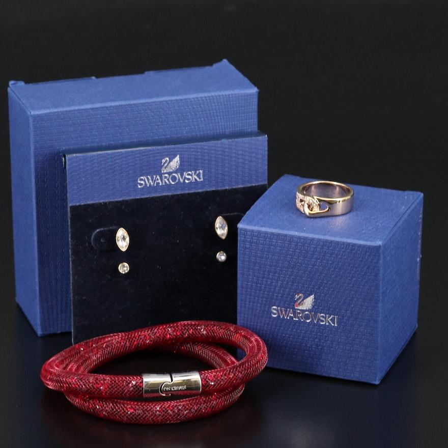 Swarovski Jewelry Featuring Harley Stud Earrings and Gallon Interlocking Ring