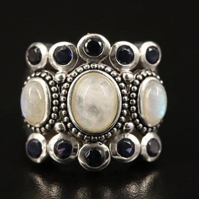 Sterling Rainbow Moonstone and Iolite Ring