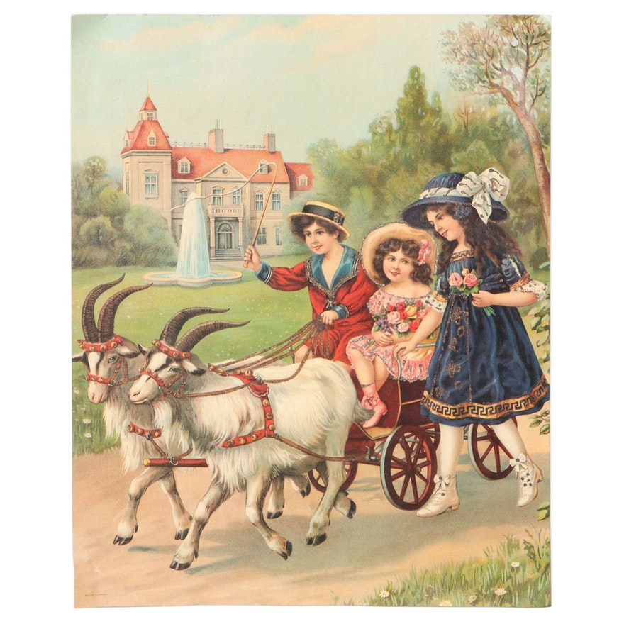 Offset Lithograph of Children and Goat Cart