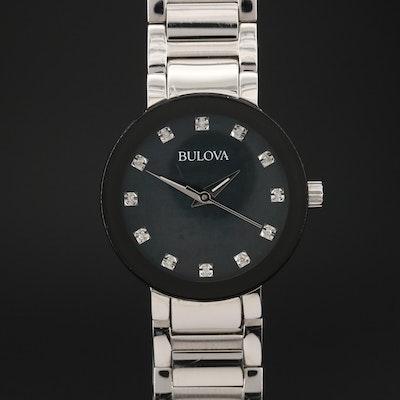 Bulova Futuro Diamond and Mother of Pearl Dial Stainless Steel Quartz Wristwatch