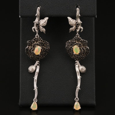 Sterling Silver Opal and Spinel Floral Dangle Earrings