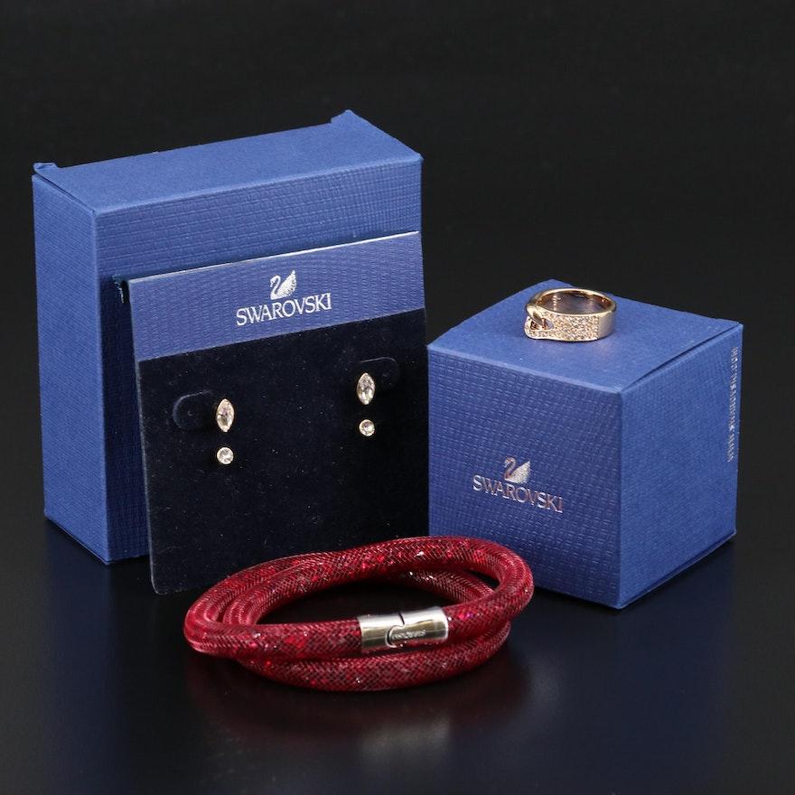 Swarovski Jewelry Featuring Stardust Bracelet and Gallon Interlocking Ring