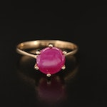 14K 3.40 CT Round Buff Top Ruby Solitaire Ring