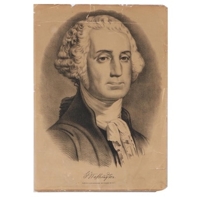 """Currier & Ives Lithograph """"George Washington,"""" 19th Century"""