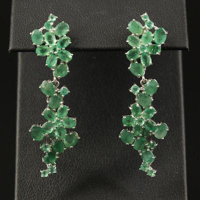 Sterling Silver Emerald Cluster Dangle Earrings