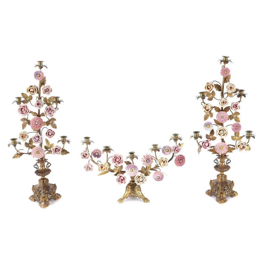 Rococo Style Gilt Brass Candelabra Garniture with Porcelain Flowers