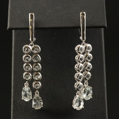 Sterling Silver Aquamarine and Cubic Zirconia Dangle Earrings