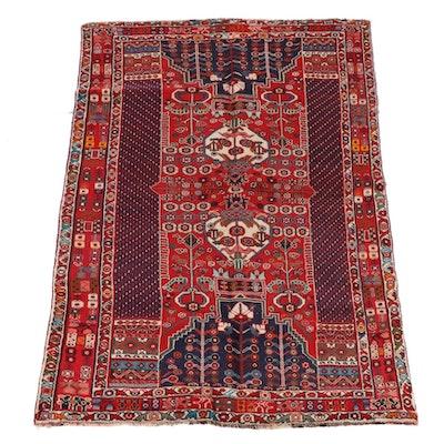 5'0 x 7'6 Hand-Knotted Persian Khamseh Wool Rug