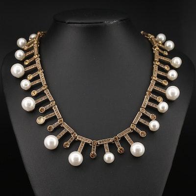 Oscar de la Renta Rhinestone and Faux Pearl Fringe Necklace