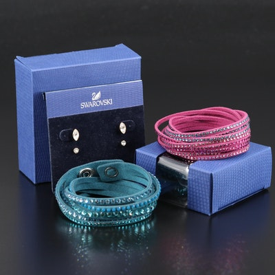 "Swarovski Crystal Suede Wrap Bracelets and ""Harley"" Stud Earrings"