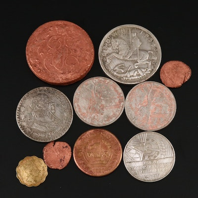 Ten Foreign Coins, Including Silver and Ancients