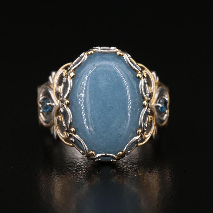 Sterling Quartz and Spinel Ring with Openwork Scrolled Setting