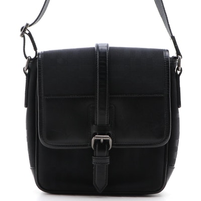 "Burberry Black ""House Check"" Nylon Canvas Bag with Leather Trim"
