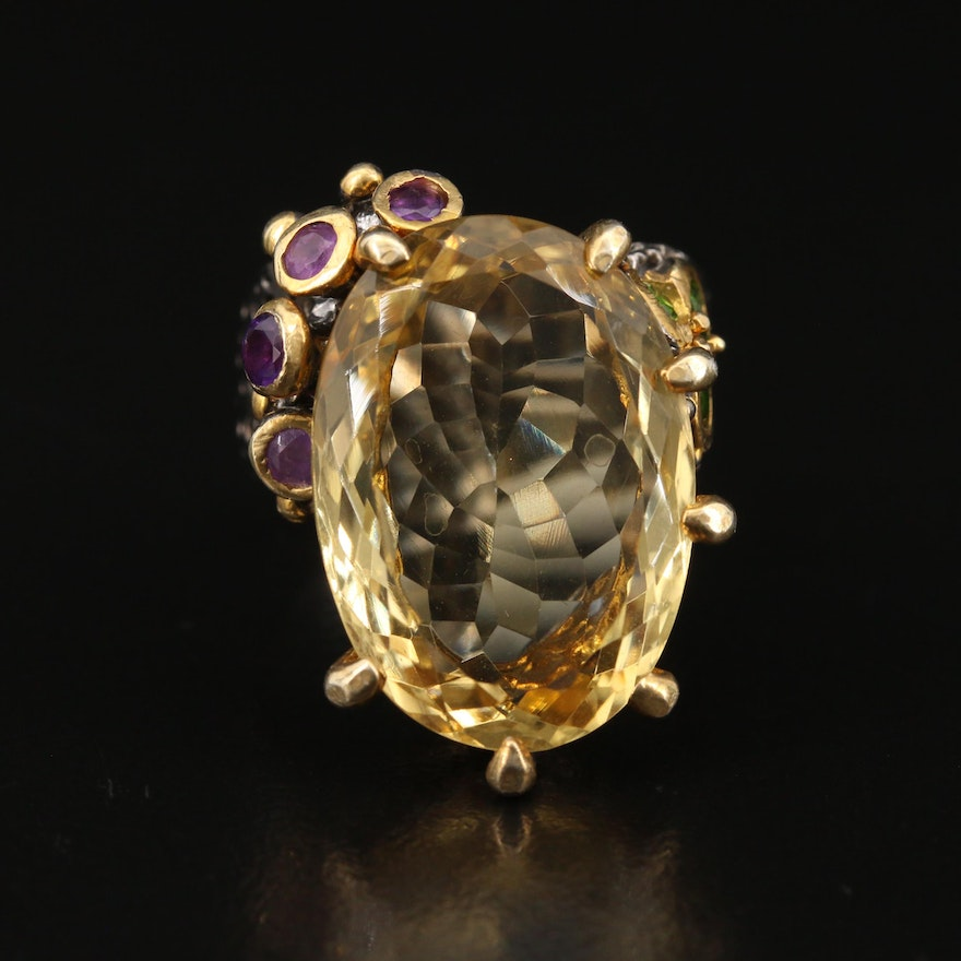Sterling Citrine, Amethyst and Chrome Diopside Textured Ring