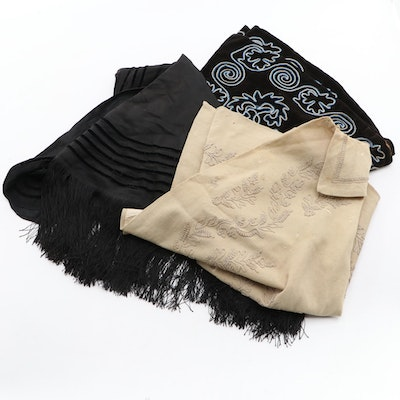 Victorian Fringed and Embroidered Silk, Velvet and Wool Capelets