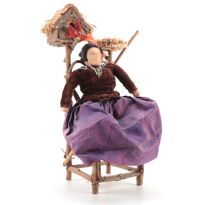 Native American Style Doll with Canework Chair